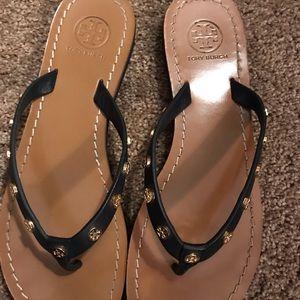 Tory Burch navy stud logo Ricki flip flop sandals
